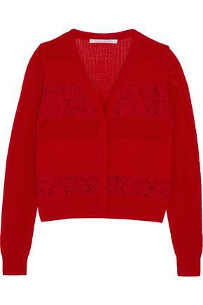 DIANE VON FURSTENBERG Adelyn corded lace-paneled merino wool cardigan