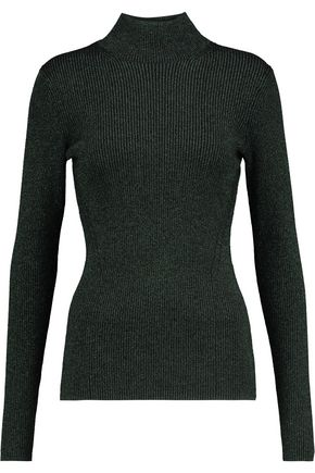 DIANE VON FURSTENBERG Tess metallic ribbed wool-blend turtleneck sweater