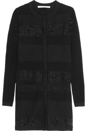 DIANE VON FURSTENBERG Carmela lace-paneled merino wool cardigan