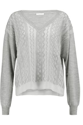 CHLOÉ Embroidered wool and silk-chiffon sweater