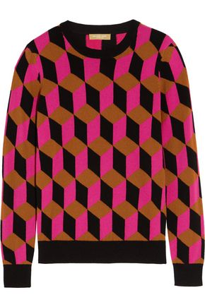 MICHAEL KORS COLLECTION Hexagon-intarsia cashmere sweater