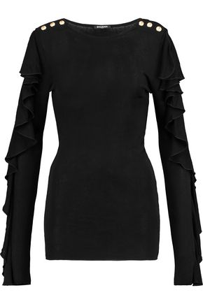 BALMAIN Ruffle-trimmed stretch-knit top