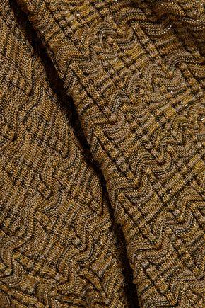KENZO Cold-shoulder metallic bouclé-knit sweater