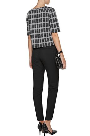 ... THEORY Cropped checked jacquard-knit sweater