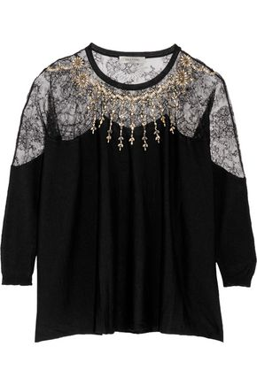 VALENTINO Paneled crystal-embellished wool-blend sweater