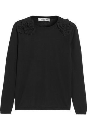 VALENTINO Floral-appliquéd wool sweater