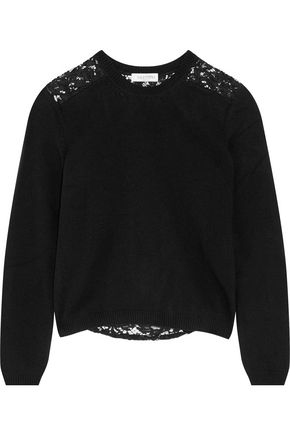 VALENTINO Corded lace-paneled wool and cashmere-blend sweater