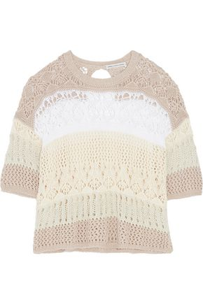 AUTUMN CASHMERE Cotton lace-knit sweater