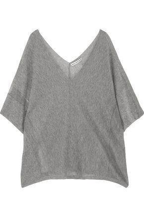 AUTUMN CASHMERE Draped knitted cotton-jersey top