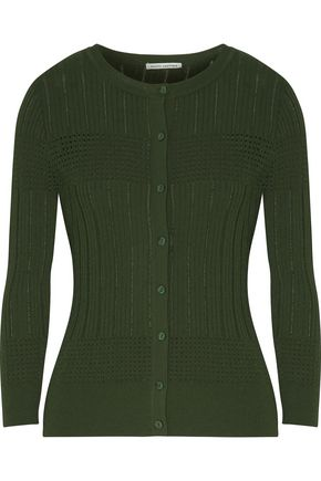 AUTUMN CASHMERE Ribbed pointelle-knit cardigan