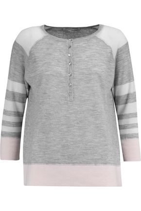AUTUMN CASHMERE Henley striped cashmere top