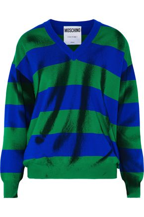 MOSCHINO Striped jacquard-knit wool sweater