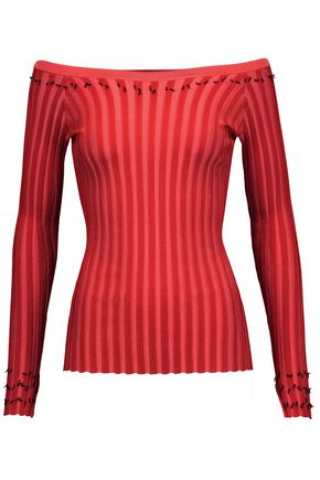 ALTUZARRA Tatum off-the-shoulder fringed rib-knit sweater