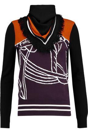 TORY BURCH Fringed jacquard-knit sweater