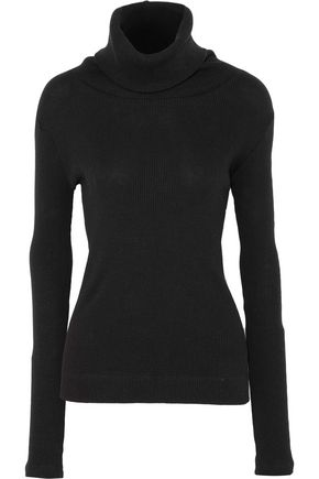 ENZA COSTA Ribbed-knit cotton and cashmere-blend turtleneck sweater