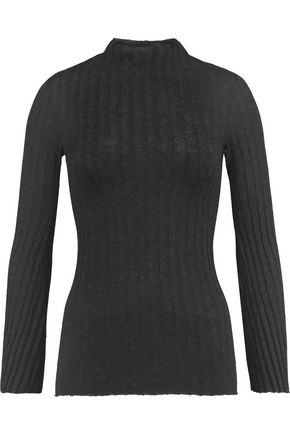 ENZA COSTA Ribbed-knit cotton and cashmere-blend sweater