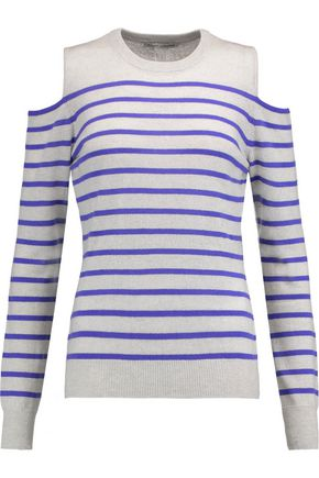 AUTUMN CASHMERE Cold-shoulder striped cashmere sweater