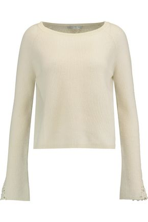 AUTUMN CASHMERE Crochet-trimmed ribbed cashmere sweater