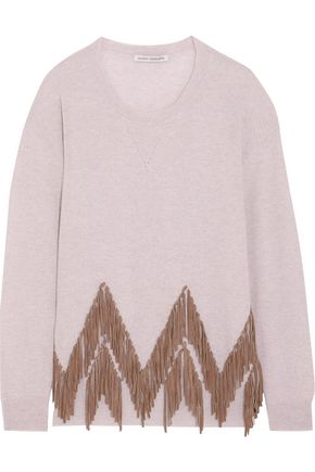 AUTUMN CASHMERE Suede-trimmed cashmere sweater