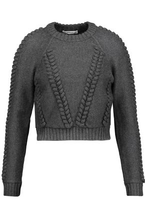 MILLY Cropped cable-knit wool-cloqué sweater