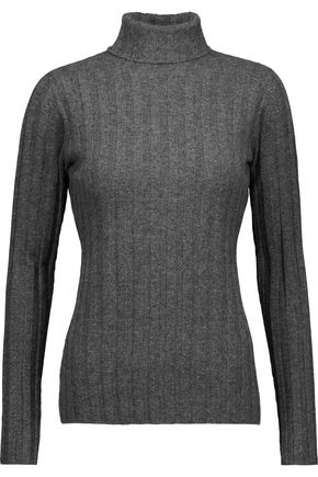MILLY Ribbed cashmere turtleneck sweater