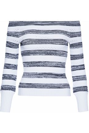 OSCAR DE LA RENTA Off-the-shoulder striped pointelle-knit sweater
