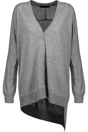 ALEXANDER WANG Asymmetric marled merino wool cardigan