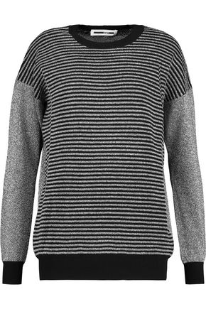 McQ Alexander McQueen Ribbed-paneled metallic knitted sweater