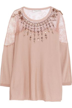 VALENTINO Crystal-embellished lace-paneled wool-blend sweater