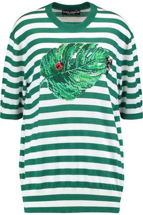 DOLCE & GABBANA Appliquéd striped cashmere and silk-blend top