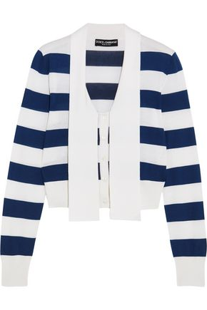 DOLCE & GABBANA Pussy-bow striped cashmere and silk-blend top