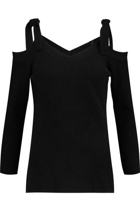 DUFFY Cold-shoulder ribbed-knit wool and cashmere-blend sweater