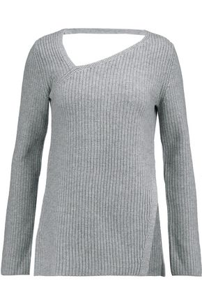 DUFFY Cutout ribbed wool and cashmere-blend sweater