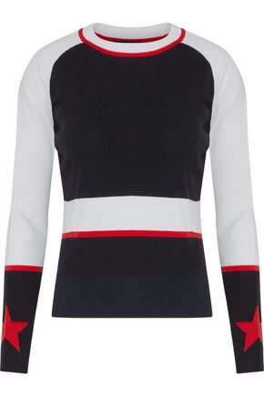 BELSTAFF Ribbed-paneled color-block intarsia-knit top