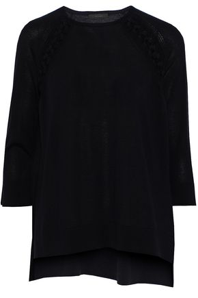 BELSTAFF Lace-up cashmere, wool and silk-blend sweater