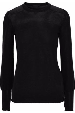 BELSTAFF Satin-paneled knitted cotton top