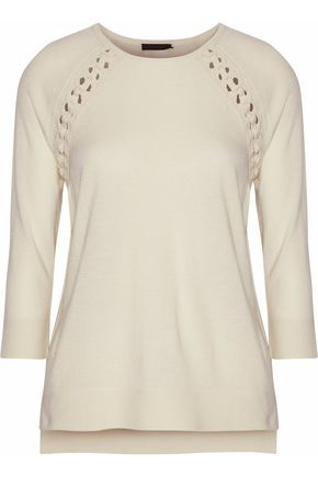BELSTAFF Lace-up cashmere wool and silk-blend sweater