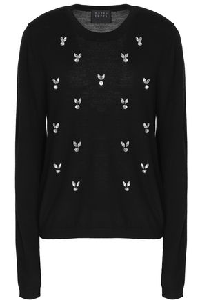 MARKUS LUPFER Crystal-embellished merino wool sweater