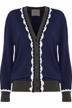 ROKSANDA Ric rac-trimmed color-block wool cardigan
