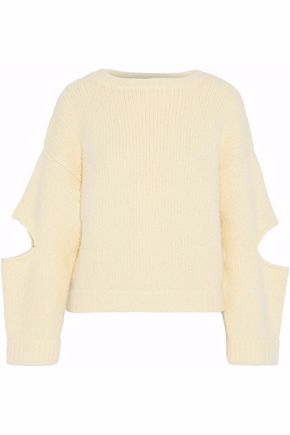 DEREK LAM Cutout brushed cashmere and silk-blend sweater