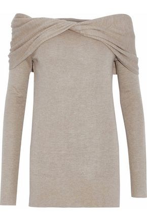DEREK LAM Off-the-shoulder twist-front cashmere and silk-blend sweater