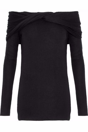DEREK LAM Off-the-shoulder twist-front cashmere and silk-blend sweater