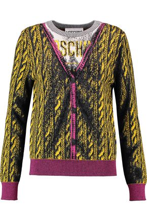 MOSCHINO Intarsia-knit virgin wool cardigan