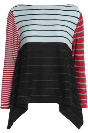 SONIA RYKIEL Asymmetric striped silk and cotton-blend top
