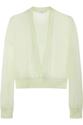 GIVENCHY V-neck sweater in mint silk-chiffon