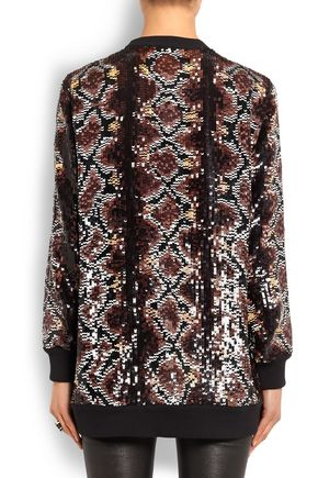 GIVENCHY sequin-embellished snake-print silk-chiffon top