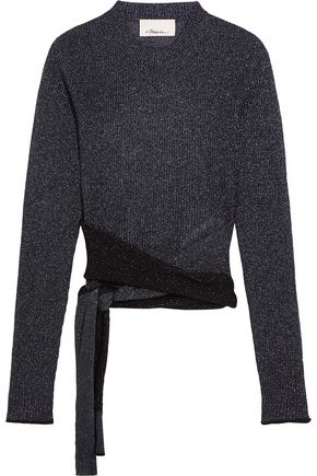 3.1 PHILLIP LIM Tie-front metallic ribbed-knit sweater