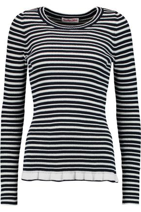 SEE BY CHLOÉ Striped knitted cotton-blend top