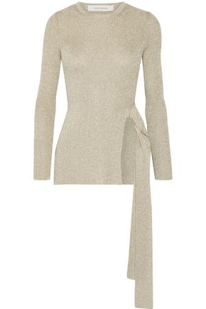 CEDRIC CHARLIER Metallic ribbed-knit sweater
