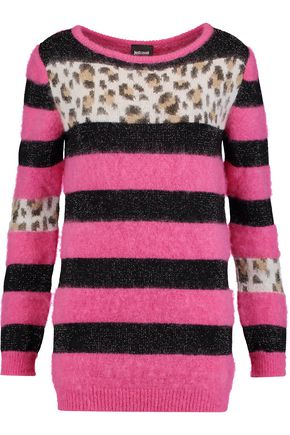 JUST CAVALLI Paneled intarsia-knit sweater